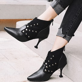 Plaid Color Block Back Zip Pointed Toe Ankle Boots