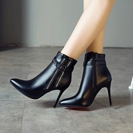 Plain Side Zipper Stiletto Heel Casual Ankle Boots