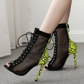 Cross Strap Lace-Up Stiletto Heel Hollow Sandal Boots