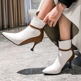 Stiletto Heel Color Block Back Zip Short Floss Ankle Boots