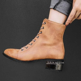 Round Toe Plain Lace-Up Front Casual Ankle Boots