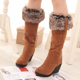 Slip-On Plain Round Toe Knee Boots