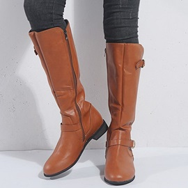 Plain Side Zipper Round Toe Western Riding Boots