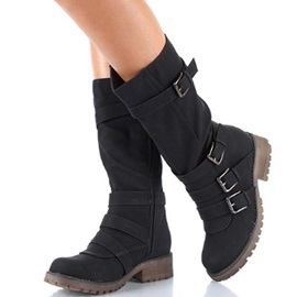 Plain Side Zipper Round Toe Short Floss Md Calf Boots