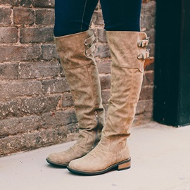 Slip-On Plain Round Toe Vintaeg Knee High Boots