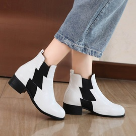 Slip-On Color Block Round Toe Ankle Boots