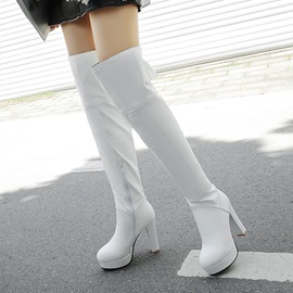 Round Toe Plain Side Zipper Knee High Boots