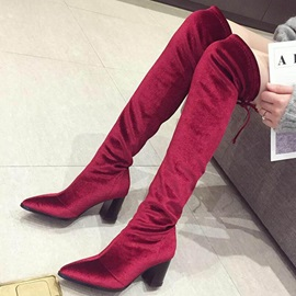 Lace-Up Back Plain Pointed Toe Short Floss Otk Boots