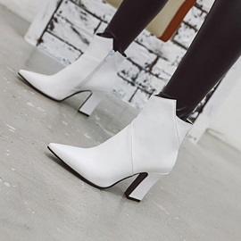 Chunky Heel Pointed Toe Plain Short Floss Ankle Boots