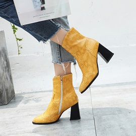 Pointed Toe Side Zipper Chunky Heel Ankle Boots