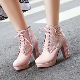 Side Zipper Chunky Heel Round Toe Short Floss Boots