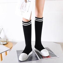 Slip-On Letter Platform Knee High Boots