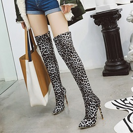 Side Zipper Stiletto Heel Leopard Thigh High Boots