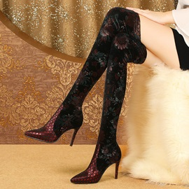 Stiletto Heel Slip-On Pointed Toe Print Otk Boots