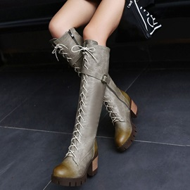Side Zipper Chunky Heel Round Toe Lace Up Boots