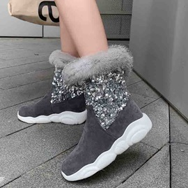 Color Block Round Toe Slip-On Fluffy Ankle Boots