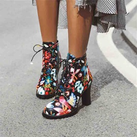 Floral Lace-Up Front Color Block Round Toe Casual Boots