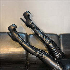 Side Zipper Round Toe Rivet Sexy Thigh High Boots