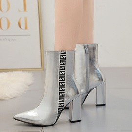 Metallic Pointed Toe Chunky Heel Side Zipper Ankle Boots