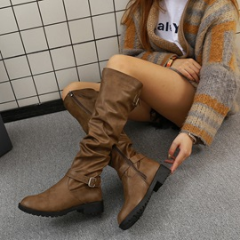 Round Toe Block Heel Side Zipper Knee Boots