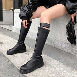 Round Toe Front Zipper Short Floss Knee High Boots