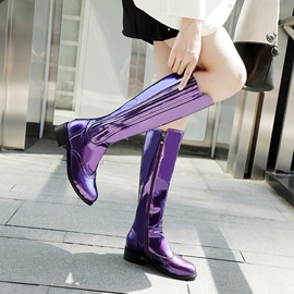 Metallic Round Toe Side Zipper Knee Boots