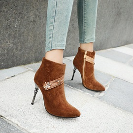Side Zipper Stiletto Heel Patchwork Ankle Boots