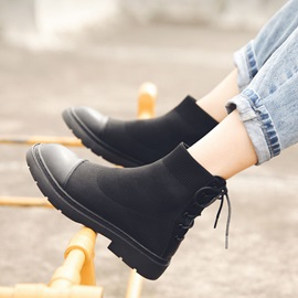 Patchwork Lace-Up Back Round Toe Ankle Boots