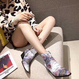 Side Zipper Pointed Toe Chunky Heel Zipper Ankle Boots