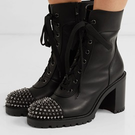 Round Toe Side Zipper Chunky Heel Rivet Customized Boots