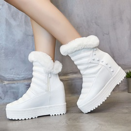 Wedge Heel Side Zipper Round Toe Snow Boots