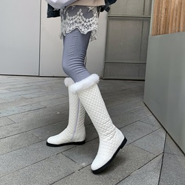 Plain Round Toe Side Zipper Knee High Snow Boots