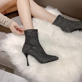 Front Zipper Pointed Toe Stiletto Heel Ankle Boots