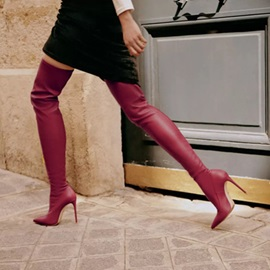 Slip-On Stiletto Heel Plain Thigh High Boots