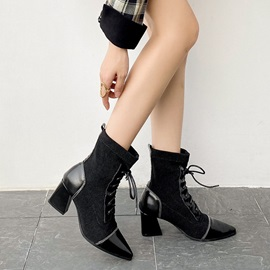 Chunky Heel Plain Pointed Toe Ankle Boots