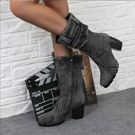 Side Zipper Round Toe Chunky Heel Vintage Ankle Boots