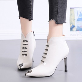 Pointed Toe Side Zipper Stiletto Heel Casual Ankle Boots
