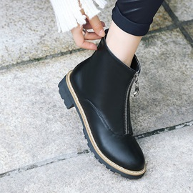 Plain Round Toe Front Zipper Western Ankle Boots