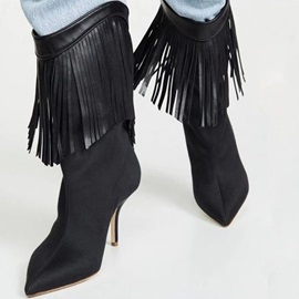 Stiletto Heel Back Zip Pointed Toe Tassel Ankle Boots