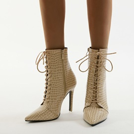 Plain Stiletto Heel Pointed Toe Casual Ankle Boots