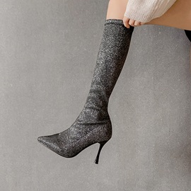 Pointed Toe Slip-On Plain Lurex Knee High Boots
