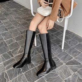 Block Heel Square Toe Back Zip Zipper Knee Boots