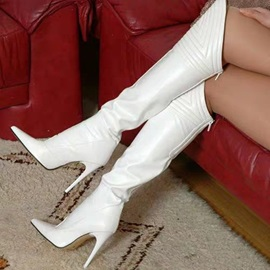 Back Zip Pointed Toe White Knee High Boots