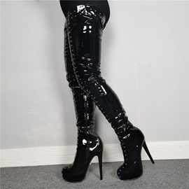 Side Zipper Round Toe Sexy Thigh High Boots