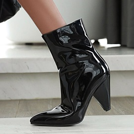 Metallic Pointed Toe Side Zipper Sexy Boots