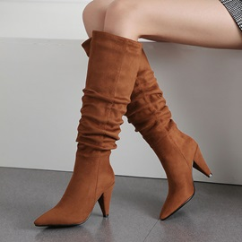 Plain Slip-On Pointed Toe Vintage Knee Boots