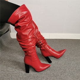 Customized Side Zipper Pointed Toe Knee High Boots