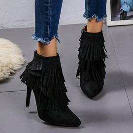 Pointed Toe Plain Stiletto Heel Tassel Ankle Boots