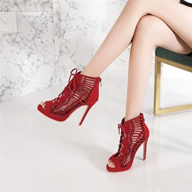 Stiletto Heel Peep Toe Hollow Sexy Sandal Boots