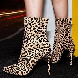 Side Zipper Pointed Toe Leopard Thread Ankle Boots